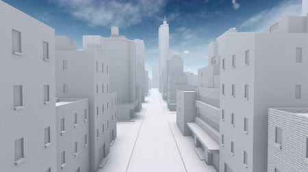 architektonický : Flight through straight empty street of abstract modern city downtown looking as white architectural scale model. Simple 3D animation rendered in 4K