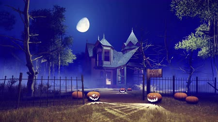 hátborzongató : Spooky abandoned haunted house with carved Halloween pumpkins on its path and creepy dead trees around at foggy night with fantastic big moon in sky Stock mozgókép