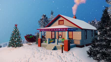 дымоход : Traditional American house decorated for Christmas with gift boxes on its porch, smoking chimney and outdoor Christmas tree at snowfall evening