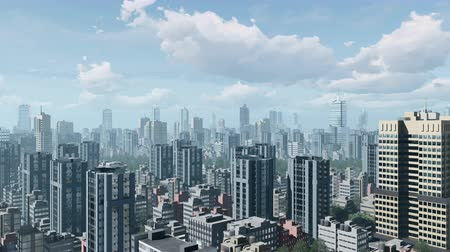 daireler : Abstract big city downtown with modern high rise office buildings skyscrapers against daytime sky with time lapse clouds. Zoom in shot. 3D animation rendered in 4K
