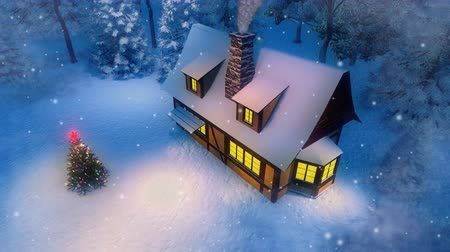 half timbered houses : Aerial view of a cozy rural house with a chimney and outdoor decoration Xmas tree at a snowfall winter night 3D animation Cinemagraph