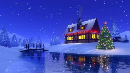 half timbered : Christmas house with smoking chimney at snowy fir forest Cinemagraph Stock Footage