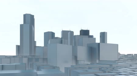 polinésia : Abstract city skyline on white sky background. Shinjuku district - special ward of Tokyo, Japan with modern high rise office buildings. Minimalism architectural 3D animation.