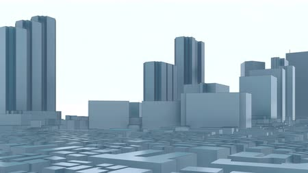 polinésia : First Japanese skyscrapers commercial and administrative center of Tokyo city - Shinjuku district. 3D animation in modern abstract minimalism monochrome style.