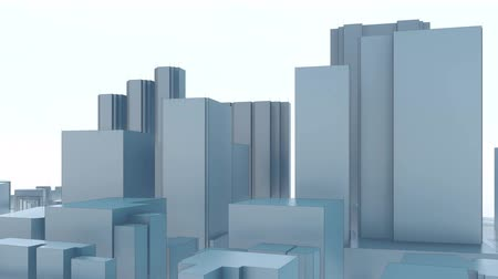 polinésia : Abstract minimalism modern city skyscrapers on white background. High rise office buildings in Shinjuku administrative and commercial center of Tokyo, Japan Stock Footage