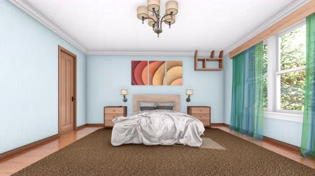 townhouse : Concept 3D animation of the modern bedroom interior furnishing process Stock Footage