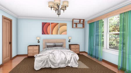 perspectiva : 3D animation of bright modern bedroom interior design