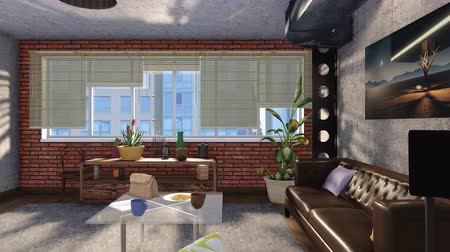 minimalizm : Modern loft style living room interior design 3D animation