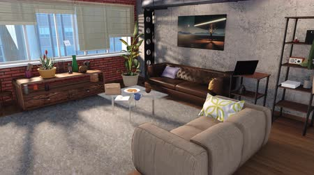 suite : Modern living room interior in loft apartment 3D animation Stock Footage