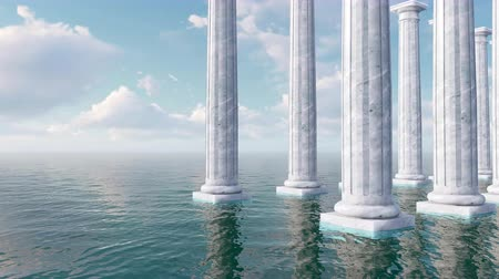 toskánský : Ancient white marble tuscan columns among open sea
