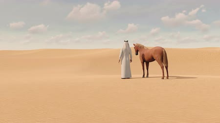 arabian horses : Arabian man and red horse in sandy desert 3D animation Stock Footage