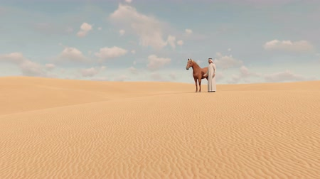 díszgomb : Arabic man and red horse among sandy desert dunes Stock mozgókép