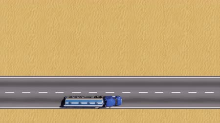 petroleiro : Aerial top view of oil tanker truck driving on empty road on abstract desert background with copy space