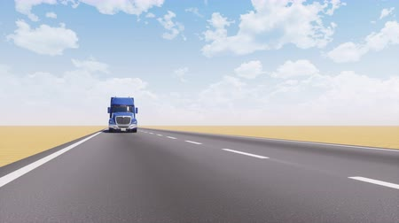 automobilový průmysl : Freight truck driving on empty desert road 3D animation