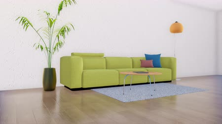 estuque : Modern sofa in the minimalistic living room interior 3D
