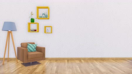 lampara de pie : Brillante interior minimalista con pared blanca vacía 3D Archivo de Video