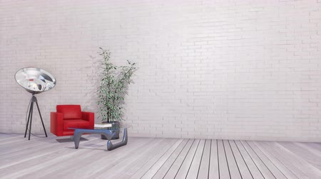 floodlight : Bright minimalist interior with copy space white brick wall Stock Footage