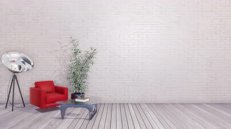 parede de tijolos : Modern minimalist interior with copy space white wall