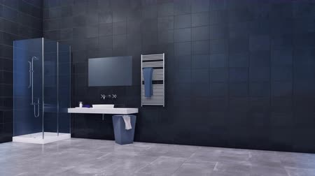 lavatório : Modern bathroom with walk in shower and black tiles wall