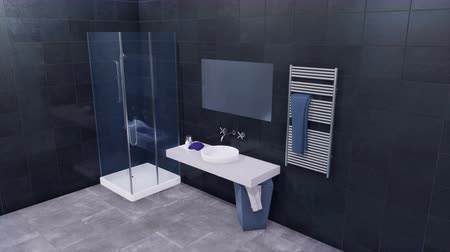 havza : Modern bathroom interior with dark gray tiled wall Stok Video