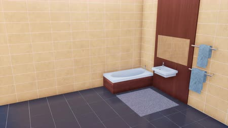 lavatório : Modern bathroom with copy space bright tiled wall 3D
