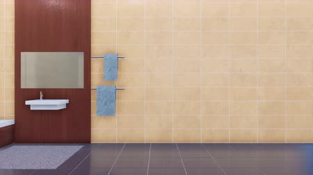 fikstür : Minimalist bathroom interior and space for text on empty beige tiles wall