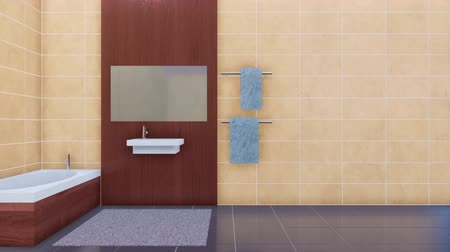 fikstür : Bathroom interior with copy space beige tiles wall 3D