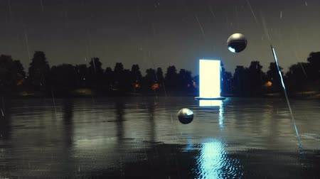 irreal : Glowing futuristic portal to another dimension soaring above tranquil forest lake at dark mystical night with heavy rain Stock Footage