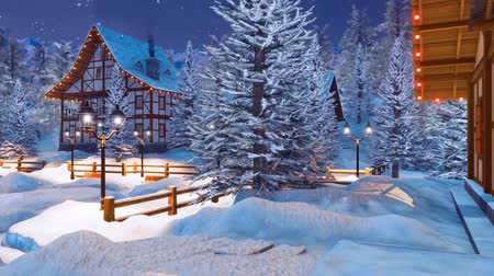 half timbered houses : Snowy alpine mountain village at Christmas night Stock Footage