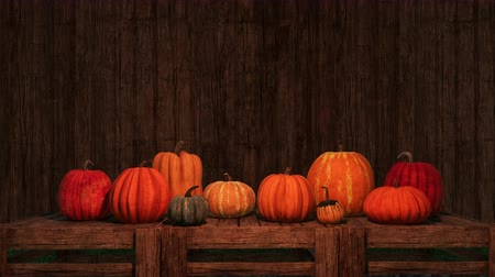 благодарение : Thanksgiving pumpkins on copy space wooden background