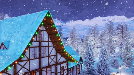 poddasze : Half-timbered mountain house at snowy winter night