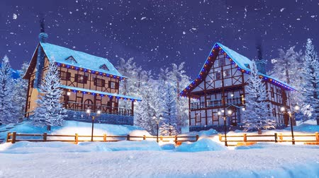 half timbered houses : Cozy snow-covered village at snowfall winter night