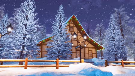 snow covered spruce : Alpine mountain timber house at snowy winter night