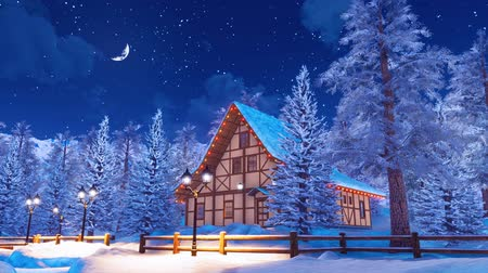 half timbered houses : Snow covered alpine mountain house at winter night