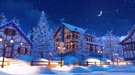 starry sky : Cozy snow covered mountain village at winter night
