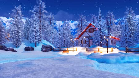 starry sky : Snowbound illuminated alpine house at winter night