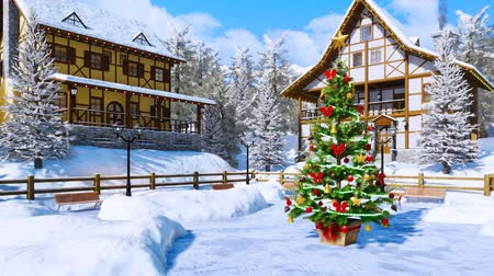 half timbered : Christmas tree on snowbound alpine township square