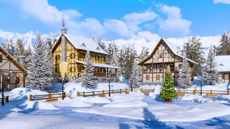 snow covered spruce : Christmas tree on snowbound alpine village square Stock Footage