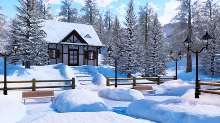 snow covered spruce : Cozy snowbound alpine mountain house at winter day