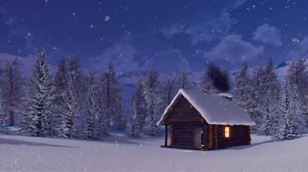 snowbound : Log cabin with chimney at winter night