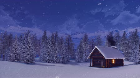 snowbound : Snow covered mountain hut at winter night