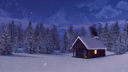 neúrodný : Mountain cabin at winter night during snowfall