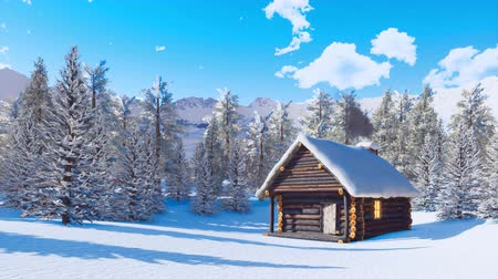 snow covered spruce : Cozy snowbound mountain cabin at clear winter day
