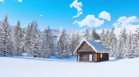 дымоход : Snow covered log cabin in alpine mountains