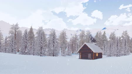 snowbound : Solitary log hut in mountains at snowy winter day Stock Footage