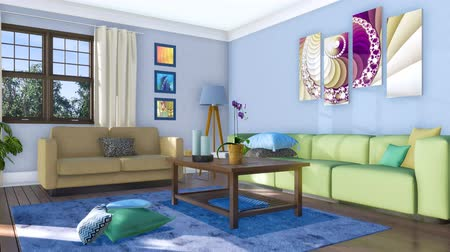 comfortable seat : Sofas in bright modern living room interior