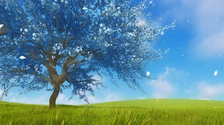 sahte : Surreal blue sakura cherry tree in blossom 3D animation