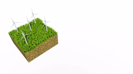 cross section : Rotating wind turbines 3D animation with copy space Stock Footage