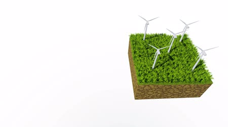 cross section : Rotating wind turbines Ecological concept loopable 3D animation
