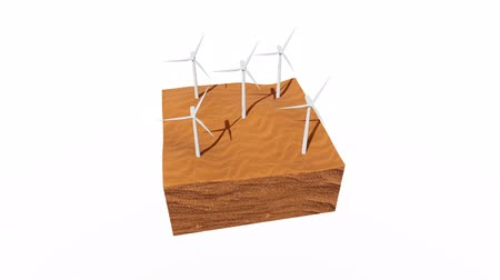 eko : Rotating wind turbines in a desert 3D animation